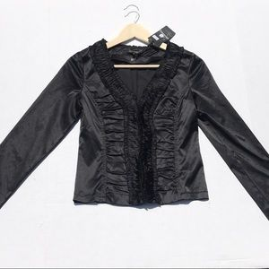 NWT Lucy Paris Black Ruffle Front Jacket